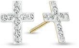 Zales Child's Crystal Cross Stud Earrings in 14K Gold