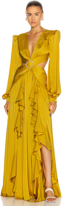 PatBO Cutout Gown With Embellished Buckle Dress in Chartreuse | FWRD