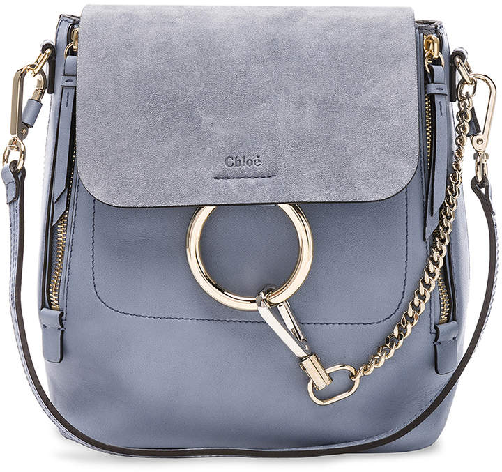 Chloé Small Faye Backpack Calfskin & Suede in Washed Blue   FWRD