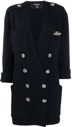 Balmain Crystal-Button Double-Breasted Jacket