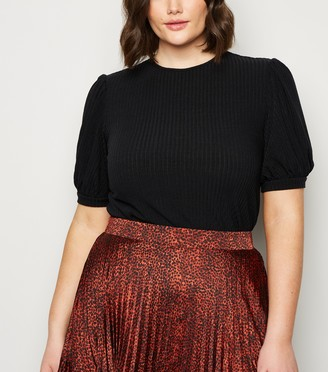 New Look Curves Puff Sleeve Ribbed Knit Top