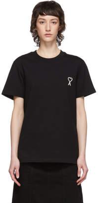 Ami Alexandre Mattiussi Black Embroidered Heart T-Shirt