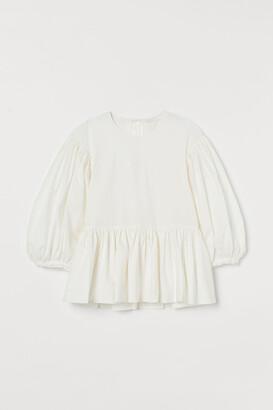 H&M Cotton Balloon-sleeved Blouse