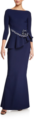 Chiara Boni Boat-Neck 3/4-Sleeve Rosette Peplum Gown