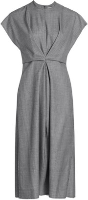 Loewe Pleated Front Wool A-Line Dress