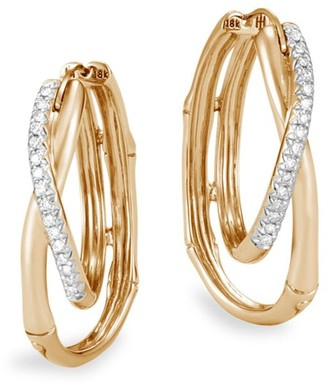 John Hardy 18K Yellow Gold Diamond Bamboo Earrings