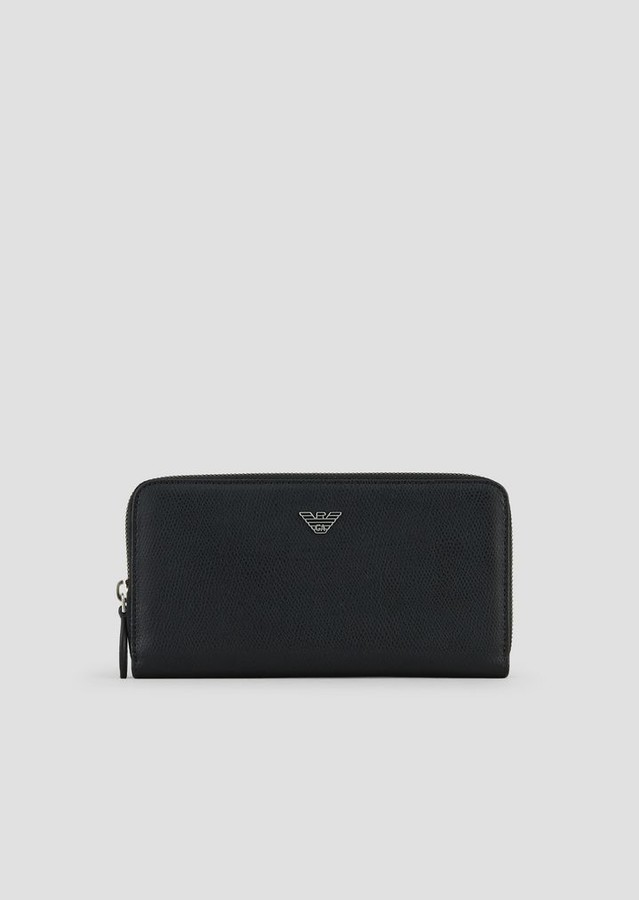 Emporio Armani Boarded Leather Long Wallet