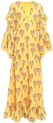 Borgo de Nor Luna Ruffled Floral-print Cotton Maxi Dress