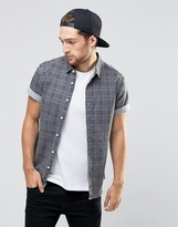 Asos Skinny Denim Shirt With Printed Check In Short Sleeve