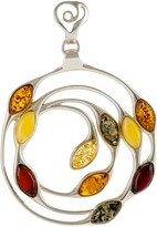 Be Jewelled Be-Jewelled Sterling Silver Baltic Amber Medallion Pendant Necklace, Multi