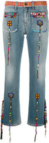 Roberto Cavalli beaded fringes cropped jeans - women - Cotton/Spandex/Elastane - 38