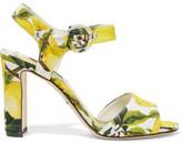 Dolce & Gabbana Printed Faille Sandals - Yellow