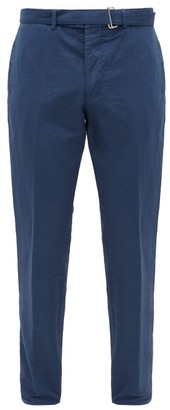 Officine Generale Paul Garment-dyed Cotton-blend Tapered Trousers - Blue