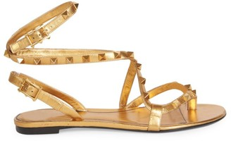 Valentino Rockstud Flair Ankle-Strap Leather Thong Sandals