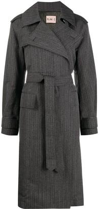 Plan C Belted Printed-Back Melange Stripe Coat