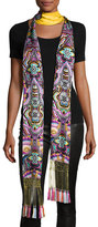 Roberto Cavalli Long Floral Silk Fringe Scarf, Gold/Multicolor