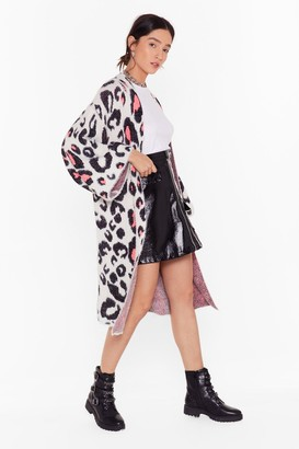 Nasty Gal Womens Got Any Purr-lans Leopard Longline Cardigan - White - One Size
