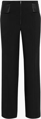 Victoria Beckham Satin-trimmed Wool-gabardine Straight-leg Pants