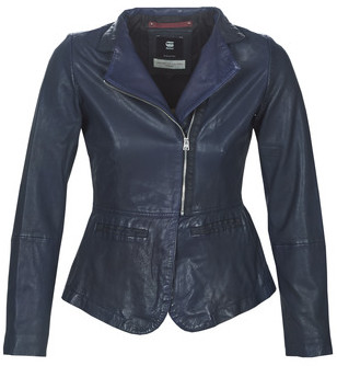 G Star Raw RIMU ZIP BLAZER WMN women's Leather jacket in Blue