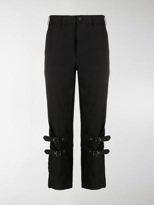 Black Comme Des Garçons Buckled Cropped Trousers