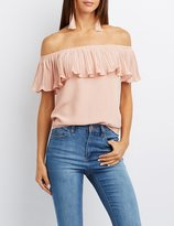 Charlotte Russe Pleated Foldover Off-The-Shoulder Top
