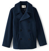 Lands' End Boys Wool Peacoat-Deepest Cobalt/Rich Red Stripe