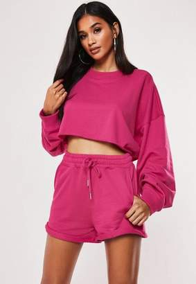 Missguided Tall Pink Cropped Long Sleeve Sweatshirt