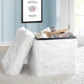 Idea Nuova Faux Fur Collapsible Storage Ottoman