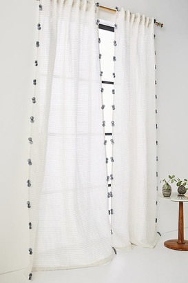 "Anthropologie Pom Tassel Curtain By in Grey Size 50"" X 96"""