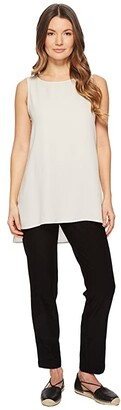 Eileen Fisher Bateau Neck Long Shell (Bone Silk Georgette Crepe) Women's Clothing