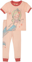 Petit Lem Mermaid Top & Pants Pajama Set, Coral, Size 2-4T