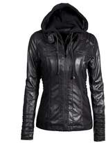 Allonly Womens Hooded PU Bomber Zip Up Moto Biker Faux leather Jacket