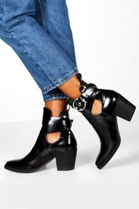 boohoo Cut Out Buckle Strap Block Heel Western Boots