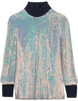 3.1 Phillip Lim Jersey-trimmed Sequined Silk Turtleneck Top - Silver