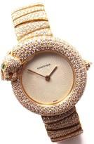 Cartier Panthere 18K Yellow Gold Diamond Bracelet 32mm Womens Watch