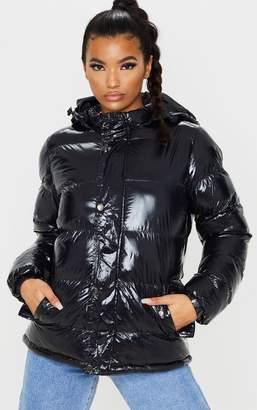 PrettyLittleThing Black High Shine Hooded Puffer Coat