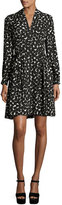 Kate Spade Long-Sleeve Silk Chiffon Ink-Blot Dress, Black