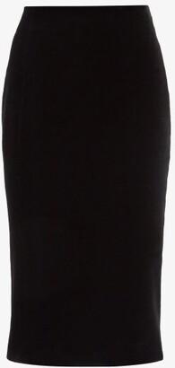 Saint Laurent High-rise Velvet Pencil Skirt - Black