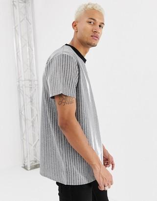 Night Addict metallic silver stripe oversized t-shirt