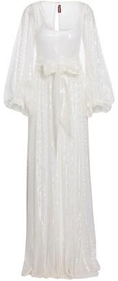 STAUD Pearl Sequin Puff-Sleeve Maxi Dress