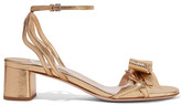 Miu Miu Metallic Textured-leather Sandals - Gold