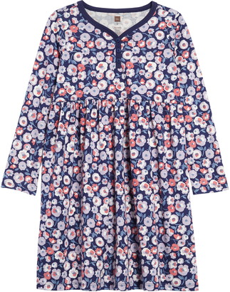 Tea Collection Flower Print Henley Dress