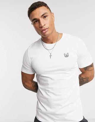 Jack and Jones Essentials slim fit dog logo organic cotton t-shirt in white
