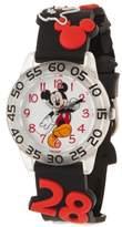 Disney Mickey Mouse Boys' Clear Plastic Time Teacher Watch, Black 3D Plastic Strap