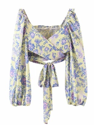 Goodnight Macaroon 'Angela' Floral Wrap Tied Top