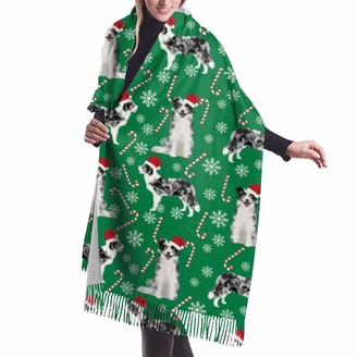 Gong Border Collie Blue Merle Peppermint Stick Candy Canes Winter Snowflakes Dog Green Shawl Wrap Winter Warm Scarf Cape Large Soft Cozy Cashmere Scarf Wrap Womans Warm Shawl Stole