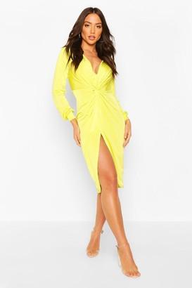 boohoo Disco Slinky Twist Front Wrap Dress