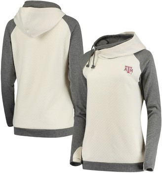 Unbranded Women's Cream/Charcoal Texas A&M Aggies Chill Layered Quilted Jacquard Pullover Hoodie