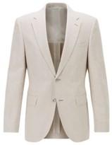 BOSS Regular-fit jacket in cotton-linen blend