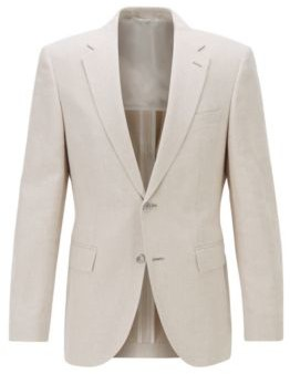 HUGO BOSS Regular-fit jacket in cotton-linen blend